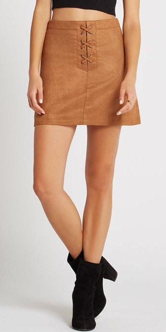 BCBGeneration Tan Suede Skirt