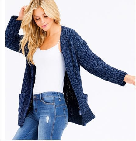 Lesticle Boho Open Front Chenille Cardigan