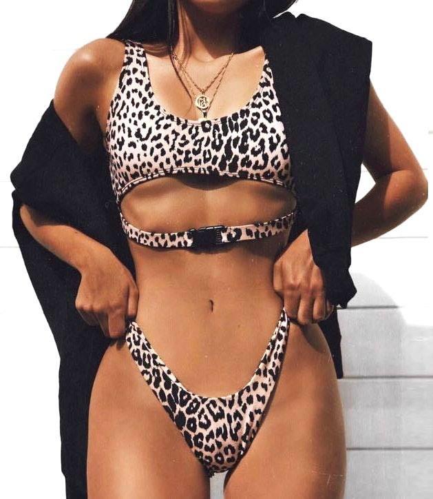 New Leopard Buckle Detail 2 Piece Bikini Set