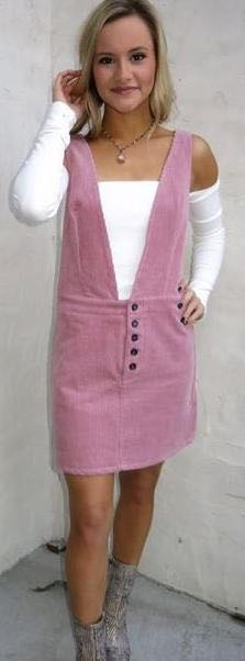 ThirtyOne Boutique Pink Corduroy Overall Dress