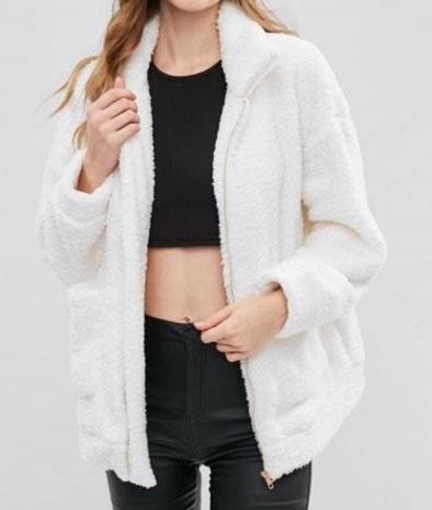 Zaful White Bear Coat