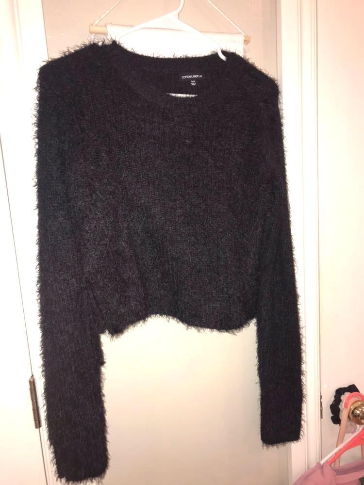Cotton Candy LA Fuzzy Black Crop Sweater