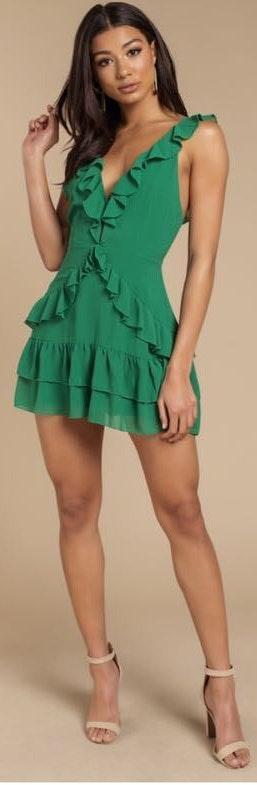 Tobi Green Ruffle Dress