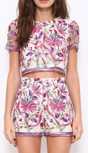L'ATISTE Shorts And Crop Top Set