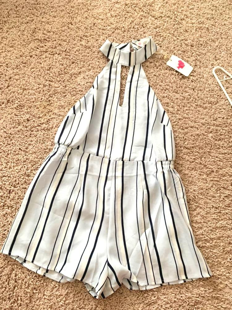 L'ATISTE Striped Backless Romper