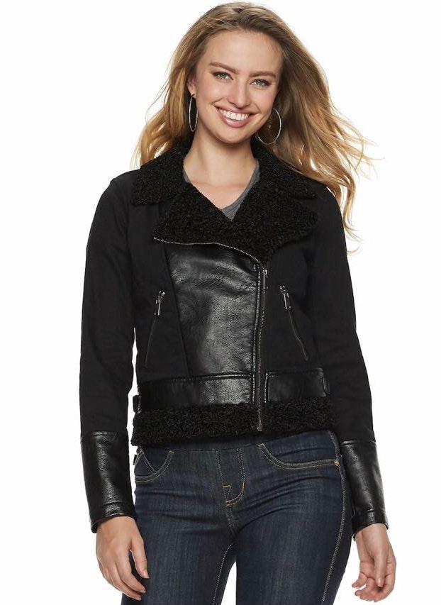Rock & Republic New  Jacket Moto Faux Leather & Sherpa