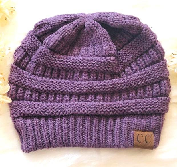 C.C. Beanie Knit Beanie Hat in Purple