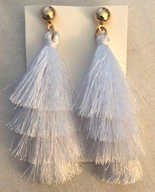 Francesca's New! White Tassel Earrings
