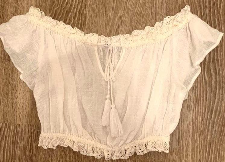 12th Tribe White Off the Shoulder TieFront Crop