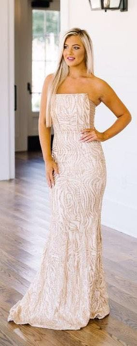 L'ATISTE Gold Sequin Formal Gown Dress