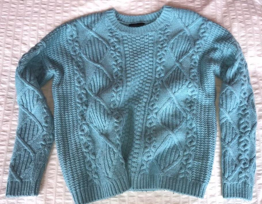 41154083750 Topshop Light Blue Cable Knit Sweater