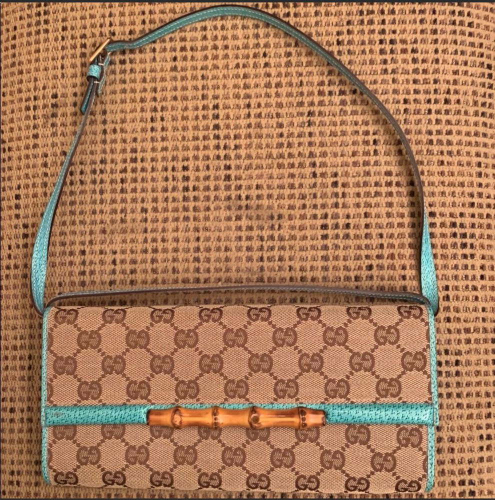 Gucci Vintage Clutch Turquoise Leather Canvas Bamboo
