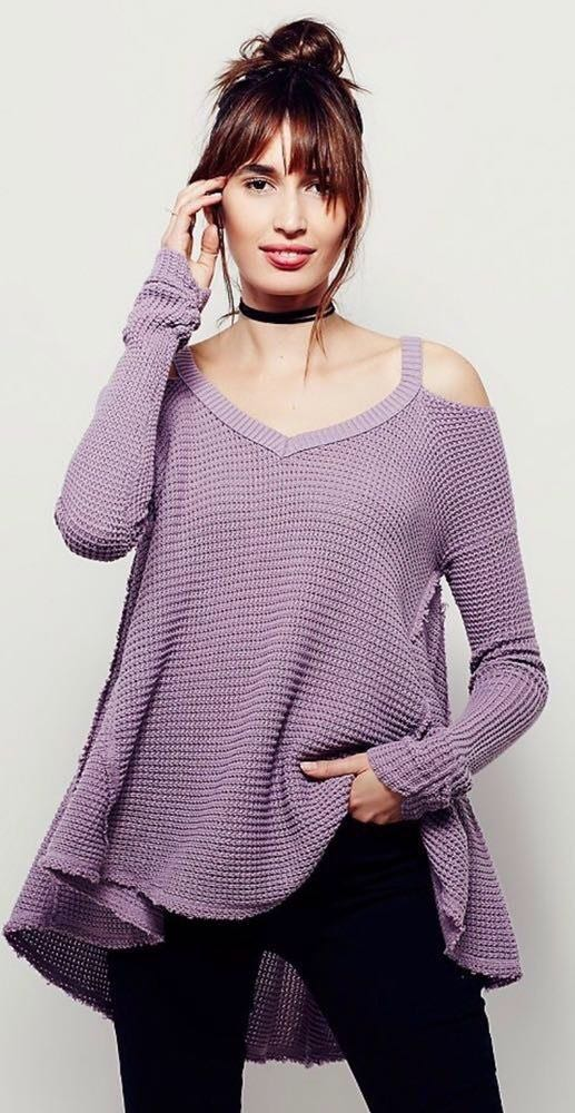 Free People V Neck Cut Out Sweater