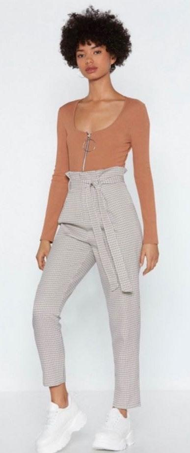 Nasty Gal Check In Paperbag Pants