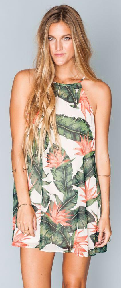 Show Me Your Mumu Mumu Palm Print Mini Dress