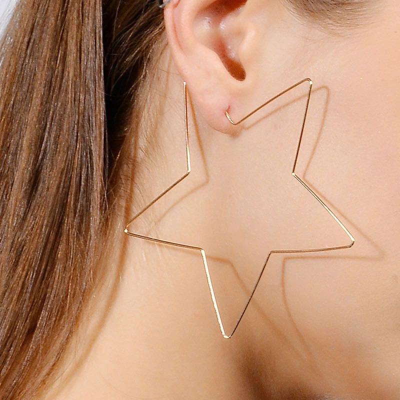 Gold Star Hoop Boho Earrings