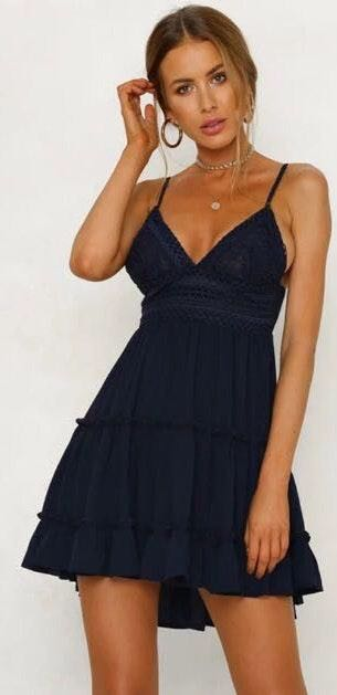 Dark Blue Lace Fit And Flare Dress