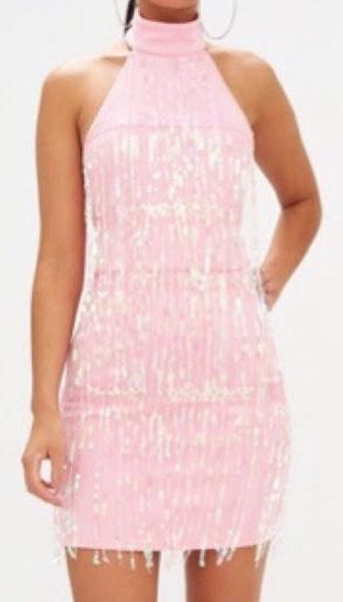 Pretty Little Thing NWT 🖤 Pink Sequin Fringe Dress