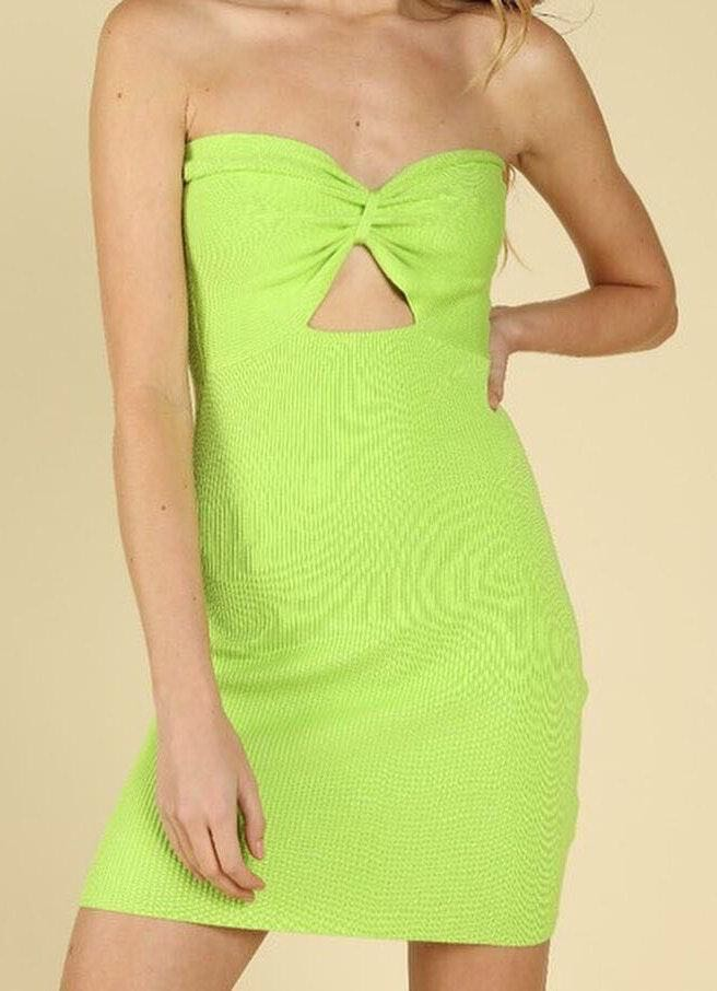 Wild Honey Neon Green Mini Dress