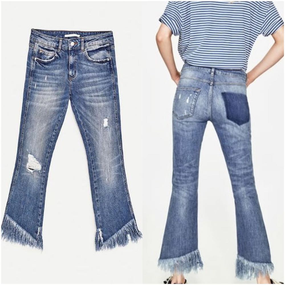 ZARA Raw Frayed Hem Distressed Ankle Jean