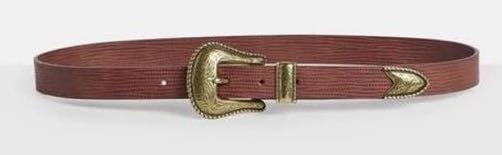 Missguided Western gold buckle snakeskin belt