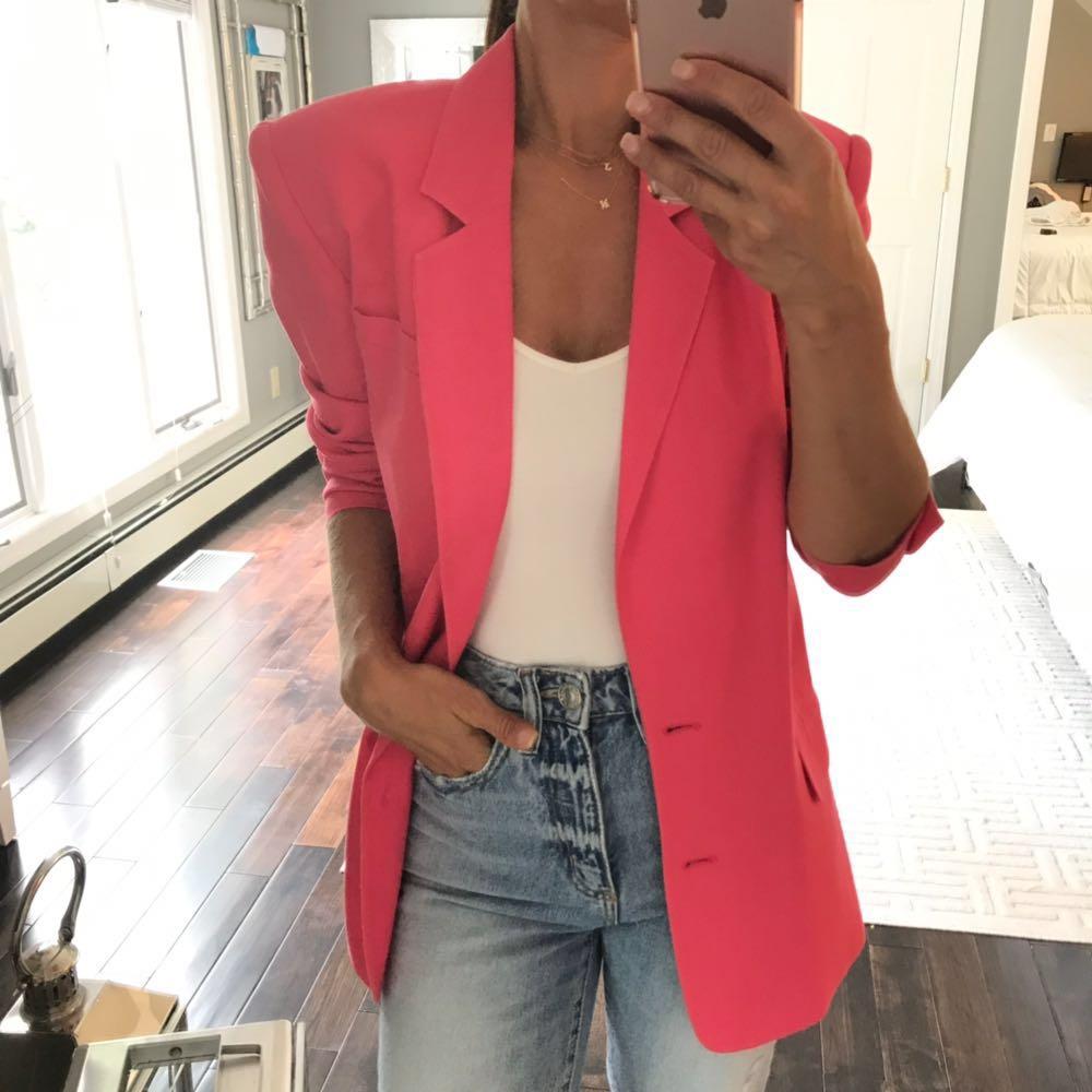 August Silk Super Chic Pink Blazer