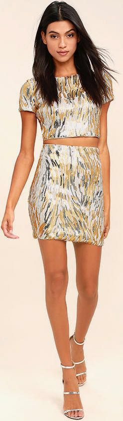 Lulus Silver And Gold Sequin Two Piece