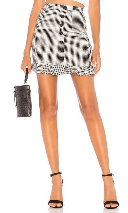 About Us Button Gingham Mini Skirt