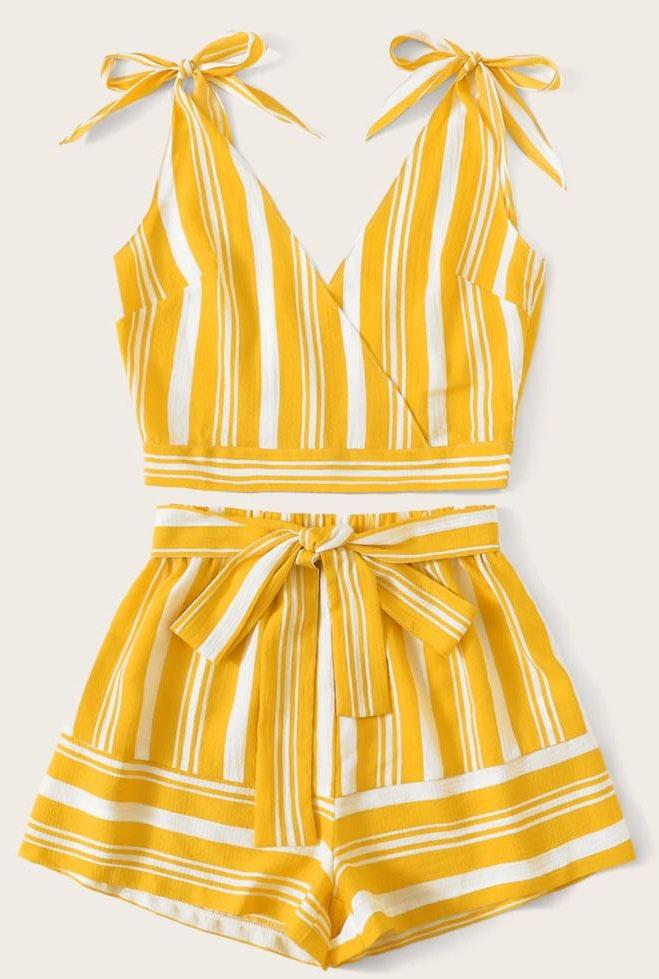Yellow And White Striped Set