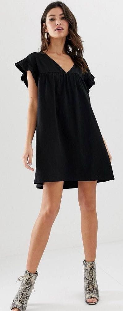 ASOS mini reversible cotton slub smock dress