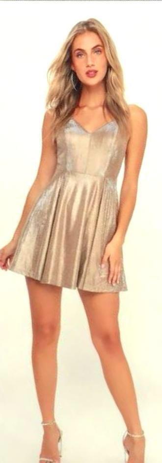 711253be54ac Lulus Gold Skater Dress