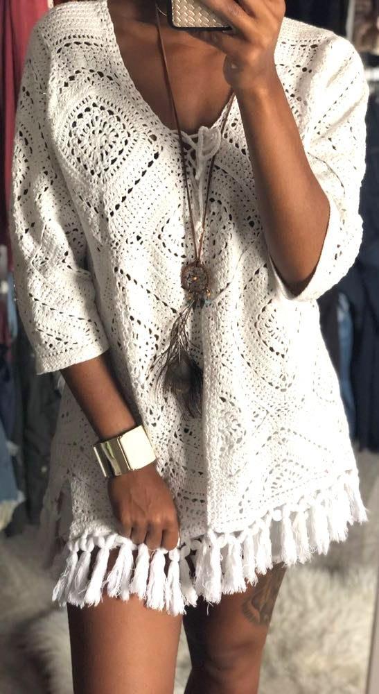 Denim 24/7 Crochet Knit 3/4 Sleeve Top