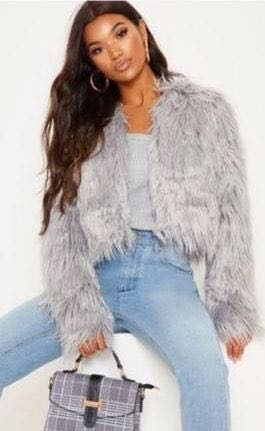 Boohoo Grey Faux Fur Coat