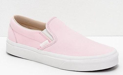 Vans Slip-On Heavenly Pink & White buck Skate Shoes