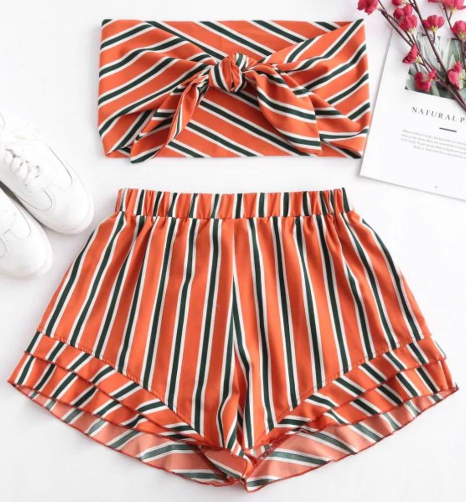 Zaful Orange, Green, and White Striped Set