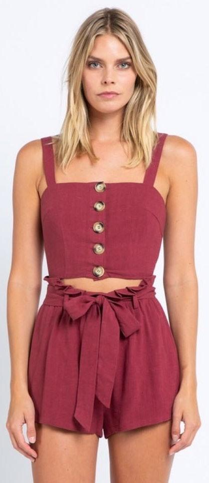 Maroon Two Piece Button Down Set