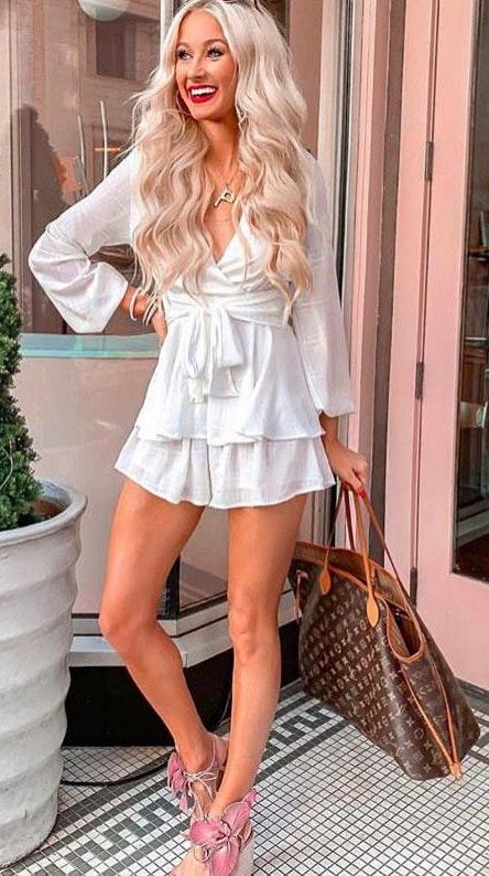 "Goodnight Macaroon White Romper ""Candis"""