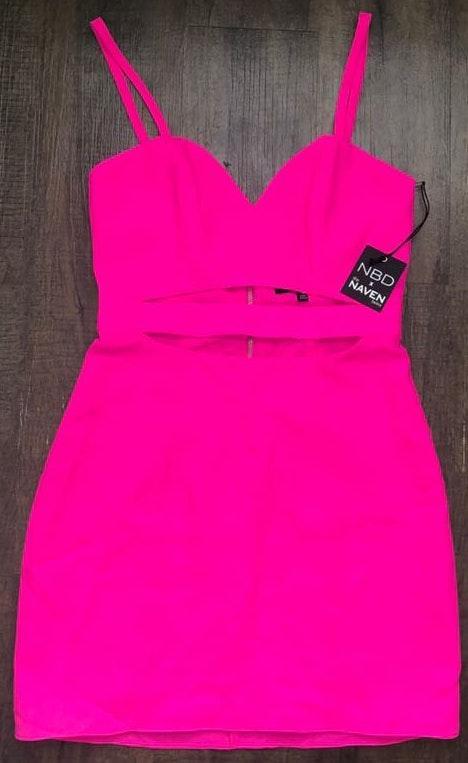 NWT NBD Neon Pink Dress