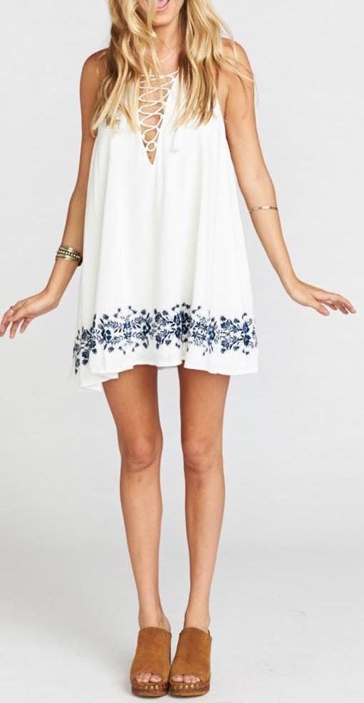 Show Me Your Mumu White Lace Up Dress
