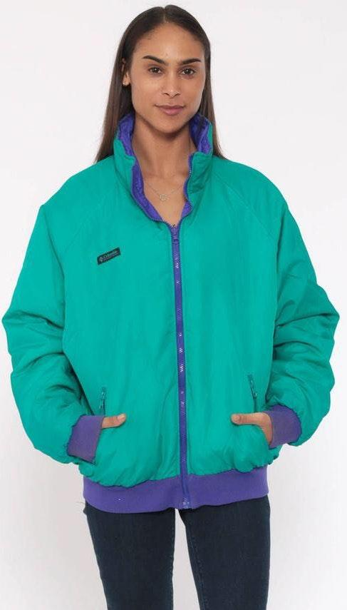 Columbia 90s  Jacket REVERSIBLE J acket Green Purple Jacket 1990s Athletic Hiking Gear Windbreaker Jacket