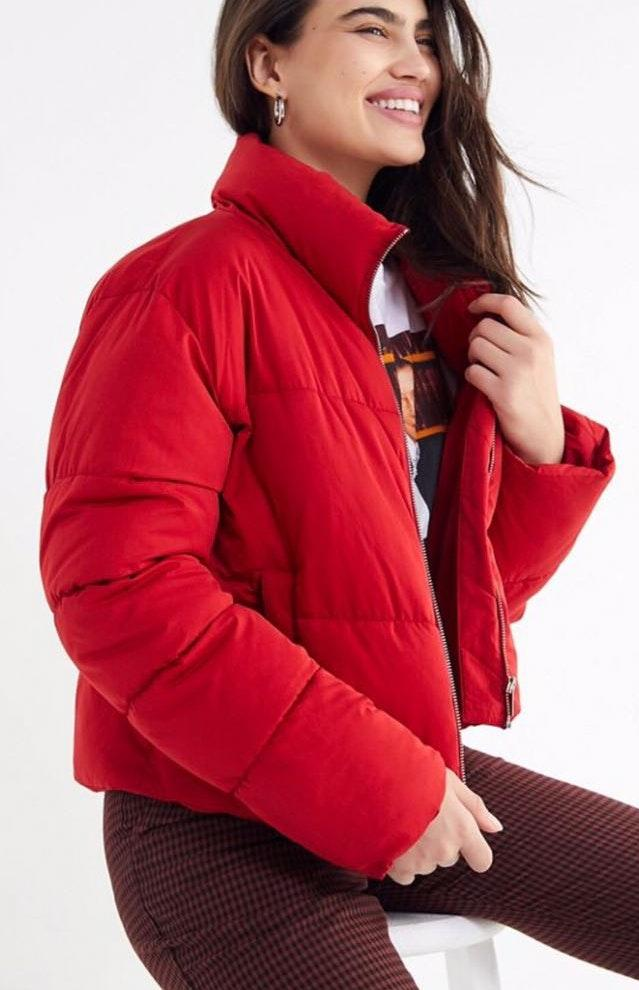 Urban Outfitters Red Puffy Cropped Coat