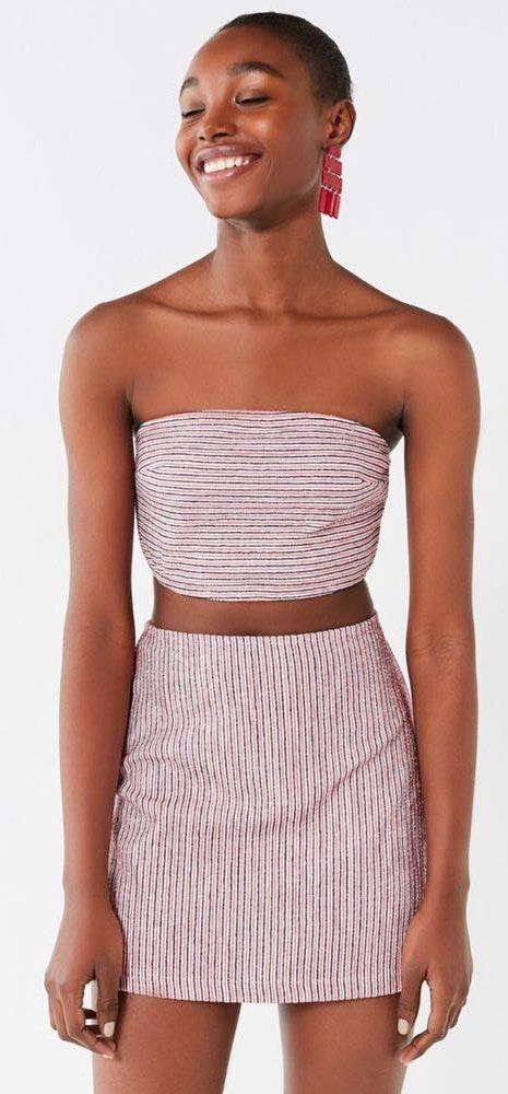Urban Outfitters lana stripped bodycon two piece set