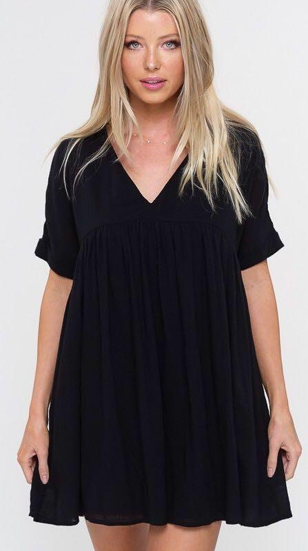 Listicle Black Babydoll Mini Dress