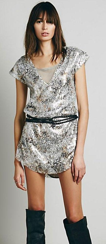 Free People Shattered Glass Midnight Dreamer Sequin Dress