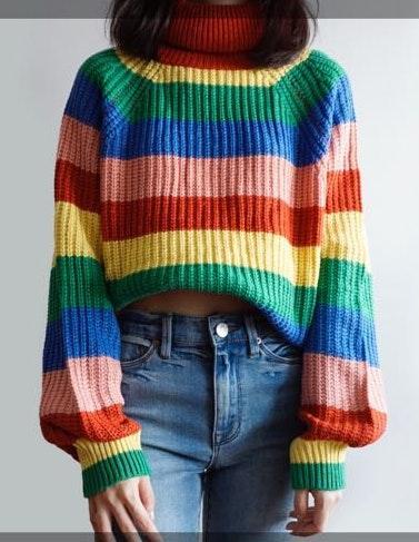 Rainbow Striped Turtleneck