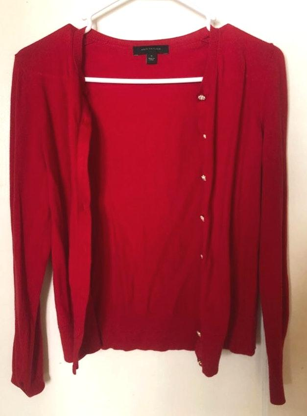 Ann Taylor Red Cardigan With Pearl Detail Buttons