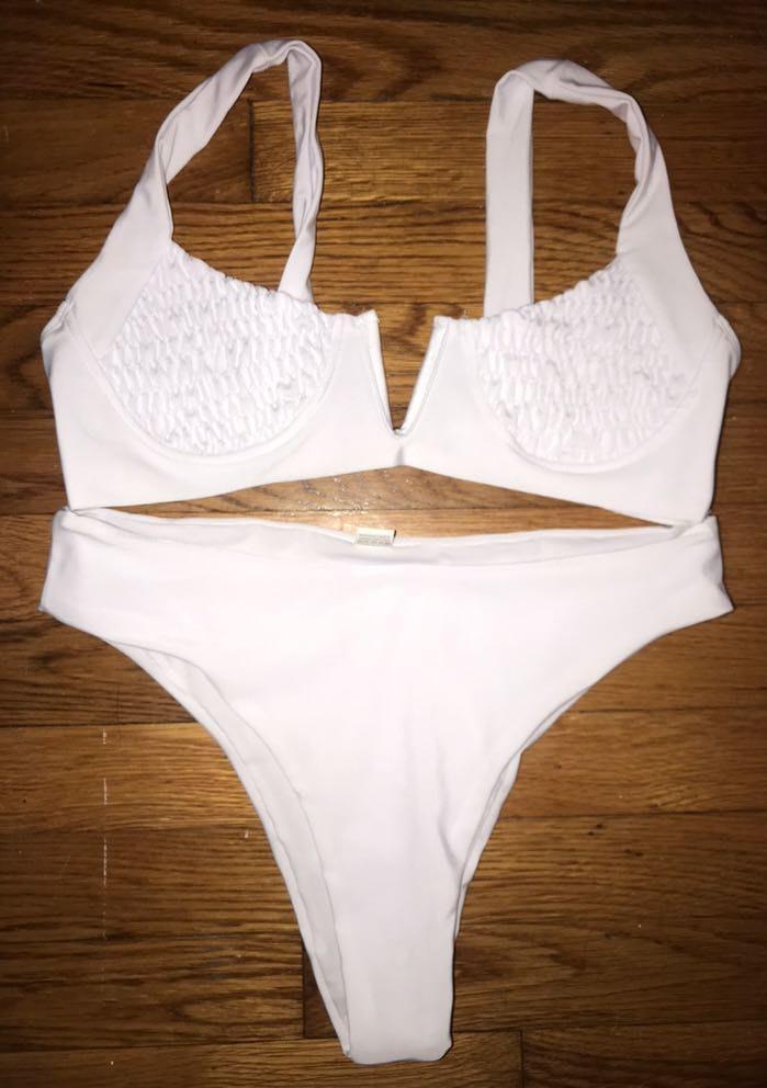 Romwe White Bathing Suit