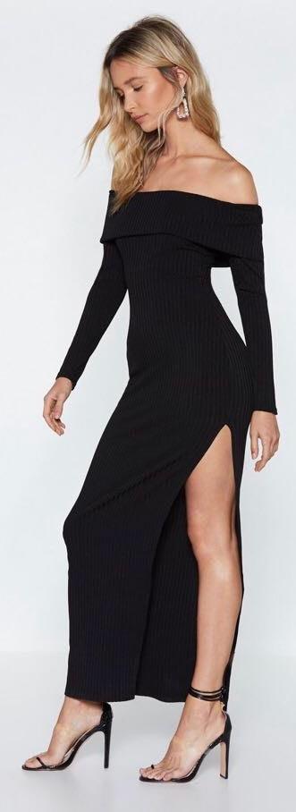 Nasty Gal Black Off The Shoulder Dress With Slit