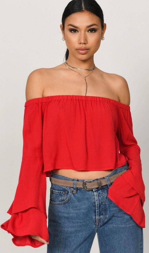 Tobi Red Off Shoulder Crop Top