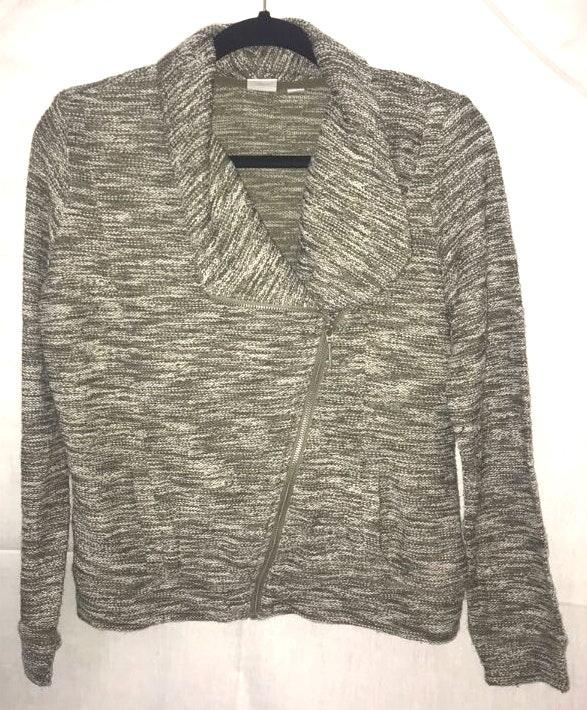 New York & Co. Small Sage Green Side Zip Sweater Jacket